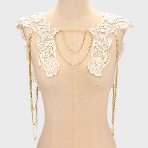 Boho Bridal Floral Lace Drape Shoulder Necklace
